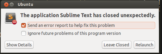 sublime text crash