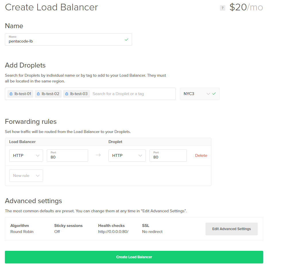 digital ocean load balancer settings