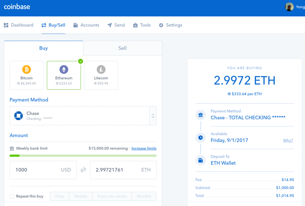 Buy bitcoins ethereum litecoins from coinbase